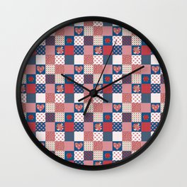 Hearts and Roses Faux Patchwork Wall Clock