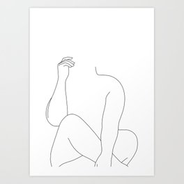 Nude figure line drawing - Elara Art Print