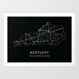 Kentucky State Road Map Art Print
