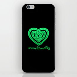 UNCONDITIONALLY in green on black iPhone Skin