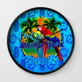 Island Time Surfing Blue Tiki Wall Clock