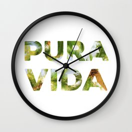 Pura Vida Costa Rica Palm Trees Wall Clock