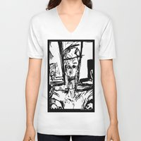 christ V-neck T-shirts featuring Zombie Christ by Dandy Jon