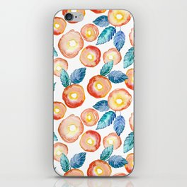 orange peony pattern iPhone Skin