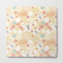 Yellow Japanese pond florals Metal Print