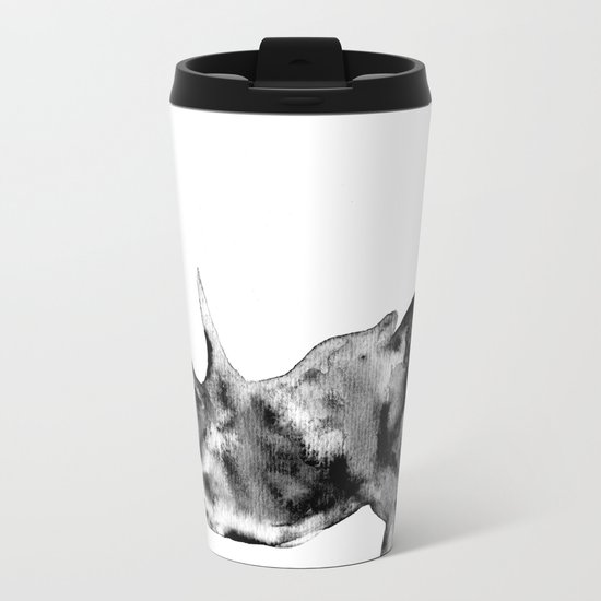 Rhinoceros, black and white Metal Travel Mug