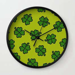 Lucky Four Leaf Clover Pattern Wall Clock