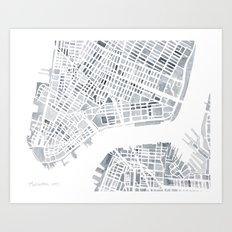 Map Manhattan Gray NYC Art Print