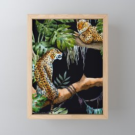Tropical Jungle Dark Forest Leopard Print Monstera Leaves Lush Green Trees Watercolor Painting Framed Mini Art Print