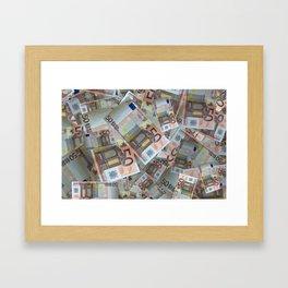 Piles of 50 Euro notes Framed Art Print