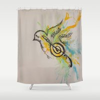 music notes Shower Curtains featuring Notes Within by ArinPhillips