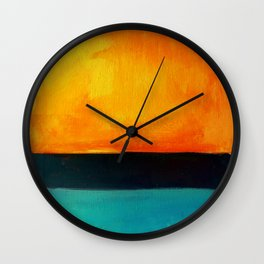 Mark Rothko Interpretation Orange Blue Wall Clock