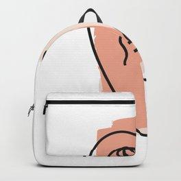 Abstract Minimal Face 04 - Modern Boho Line Art Drawing Illustration Shapes Backpack
