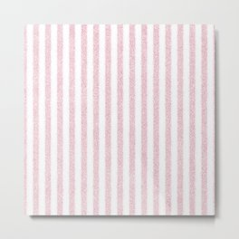 Nappy Faux Velvet Stripes in Pink on White Metal Print