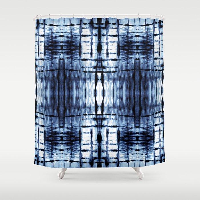 Blue Shibori Plaid Shower Curtain
