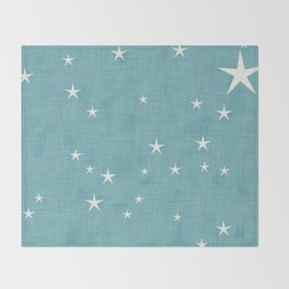 Blue star with fabric texture - narwhal collection Throw Blanket