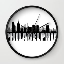 Philadelphia Silhouette Skyline Wall Clock
