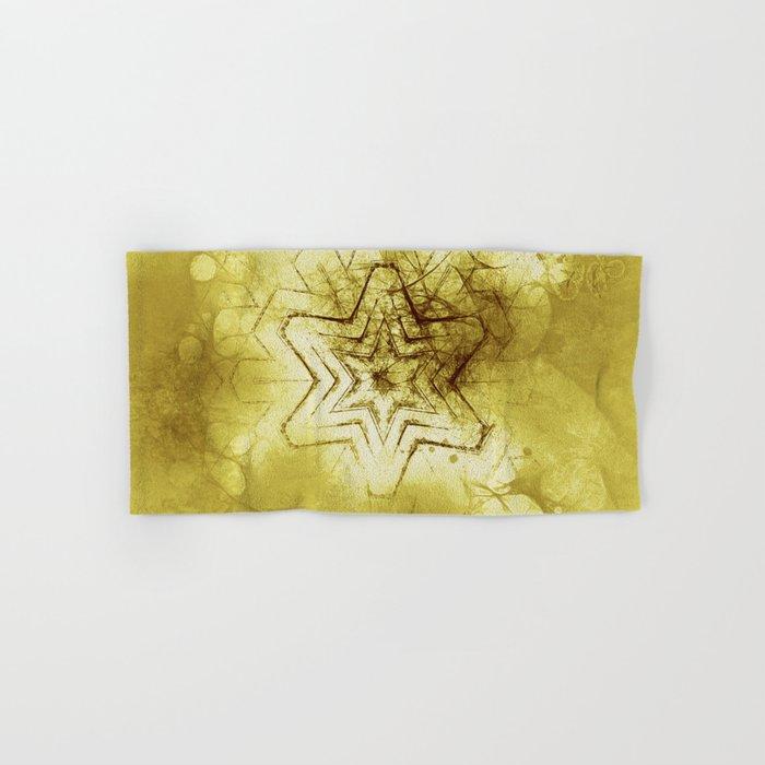 Star mandala in gold Hand & Bath Towel