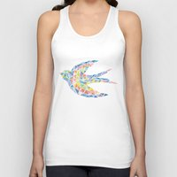 swallow Tank Tops featuring Triangled Swallow  by XOOXOO