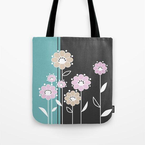 Floral applique . Retro .  Tote Bag