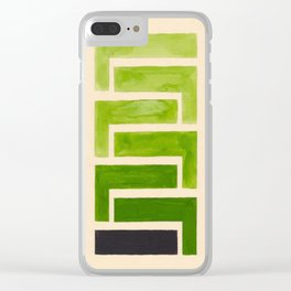 Sap Green Geometric Watercolor Painting Clear iPhone Case