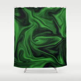 Black and green marble pattern Shower Curtain