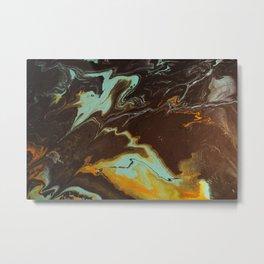 Fluid Art Acrylic Painting, Pour 3 - Black, Orange & Turquoise Blended Color Metal Print
