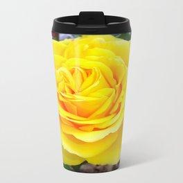 Golden Yellow Rose with Garden Background Travel Mug