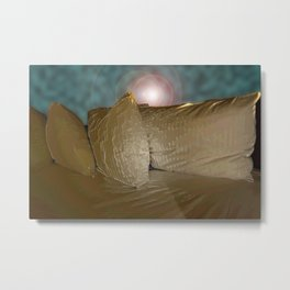 Pillows Series in gold and blue Metal Print