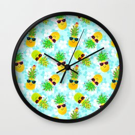 Funny Tropical Christmas Pineapples Wall Clock