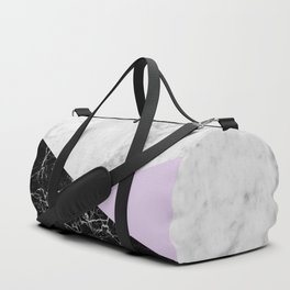 White Marble - Black Granite & Light Purple #388 Duffle Bag