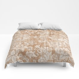 Vintage white brown grunge shabby floral Comforters