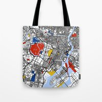 tokyo Tote Bags featuring Tokyo by Mondrian Maps