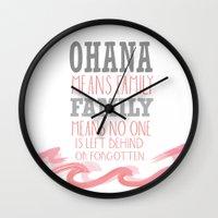 ohana Wall Clocks featuring ohana means family.. pink by studiomarshallarts