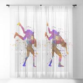Wrestlers wrestling men 03 in watercolor Sheer Curtain