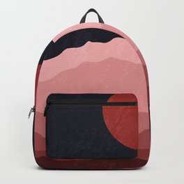 Full moon phase abstract contemporary landscape boho poster gradient colors of mountains Backpack