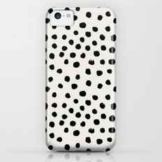 Preppy brushstroke free polka dots black and white spots dots dalmation animal spots design minimal Slim Case iPhone 5c