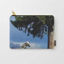 white horse in beautiful mountain view Carry-All Pouch