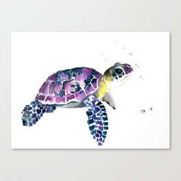 Sea Turtle, purple baby turtle illustration design Canvas Print