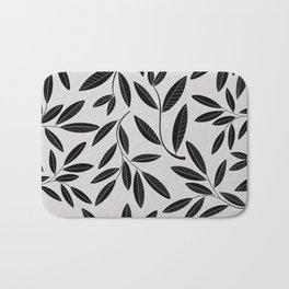 Black and White Plant Leaves Pattern Bath Mat