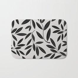Black & White Plant Leaves Pattern Bath Mat