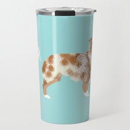 Australian Shepherd red merle funny dog fart Travel Mug