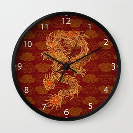 Traditional Chinese Red Dragon                                         Wall Clock