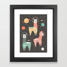 Astronaut Llamas in Space Framed Art Print