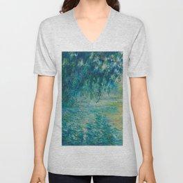 Claude Monet Morning on the Seine Oil Paintng Unisex V-Neck