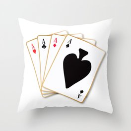 Four Aces Throw Pillow