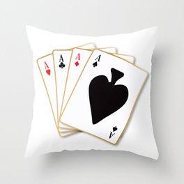 Four Aces Throw Pillow