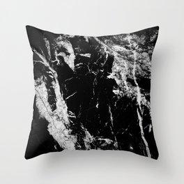 Dark marble black white stone1 Throw Pillow