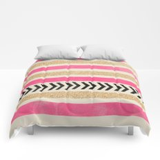PINK AND GOLD STRIPES AND ARROWS Comforters