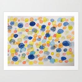 Blotted blue Art Print